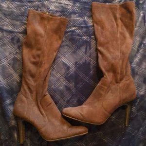 Brown Isaac Mizrahi fabric boots